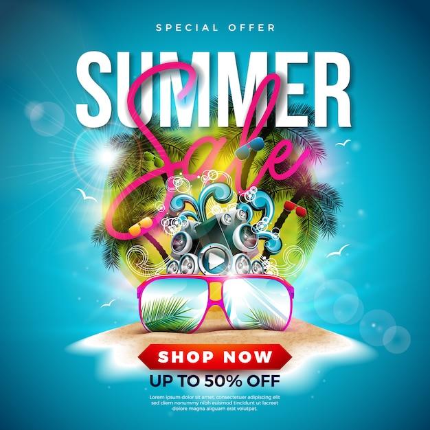 Summer sale design con palme e occhiali da sole Vettore Premium