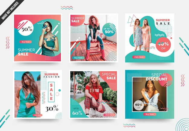 Summer social media post template con colori unici Vettore Premium