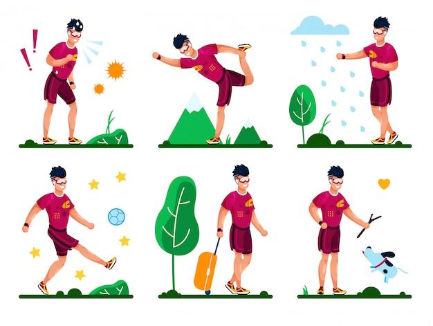Summer time activities flat et Vettore Premium