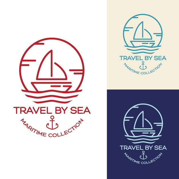 Summer travel design - sail boat. illustrazione di raccolta marittima Vettore gratuito