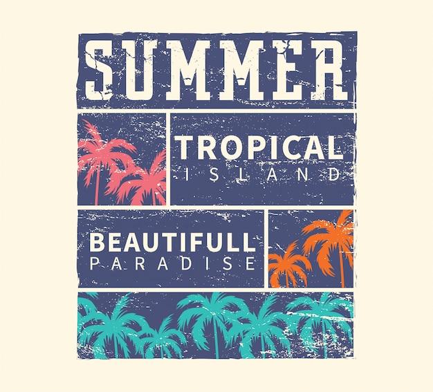 Summer tropical island beautiful paradise Vettore Premium