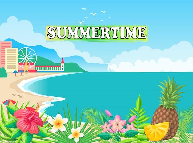 Summertime seashore vector illustration Vettore Premium