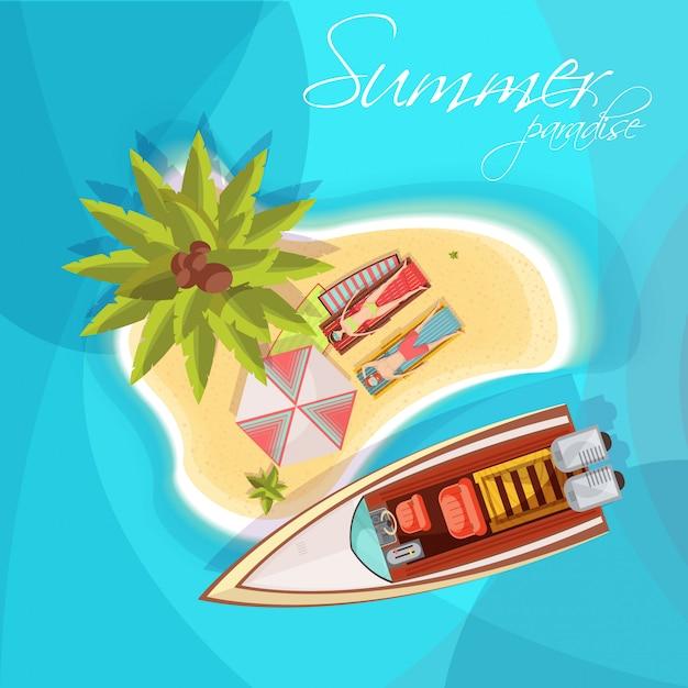 Sunbathers sulla vista superiore della composizione dell'isola con la palma dell'ombrello del motoscafo sull'illustrazione blu di vettore del fondo del mare Vettore gratuito