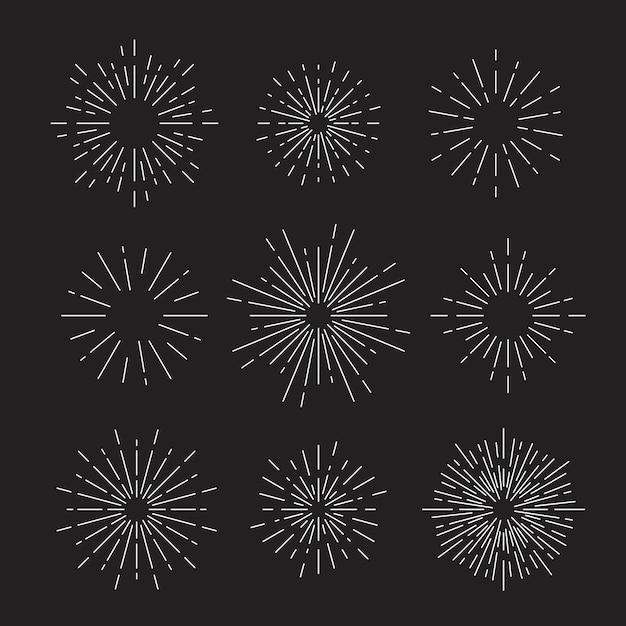 Sunburst impostato su nero Vettore gratuito