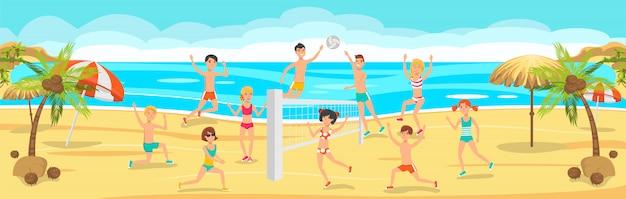 Sunny day on beach.friends gioca a pallavolo sulla sabbia Vettore Premium