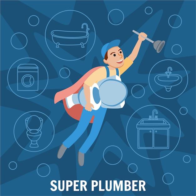 Super idraulico Vettore Premium