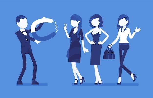 Super magnetismo maschile. giovane eccitante e accattivante con magnete, metafora della capacità personale di attrarre e incantare le ragazze, attrattiva fisica per le donne. illustrazione, personaggi senza volto Vettore Premium