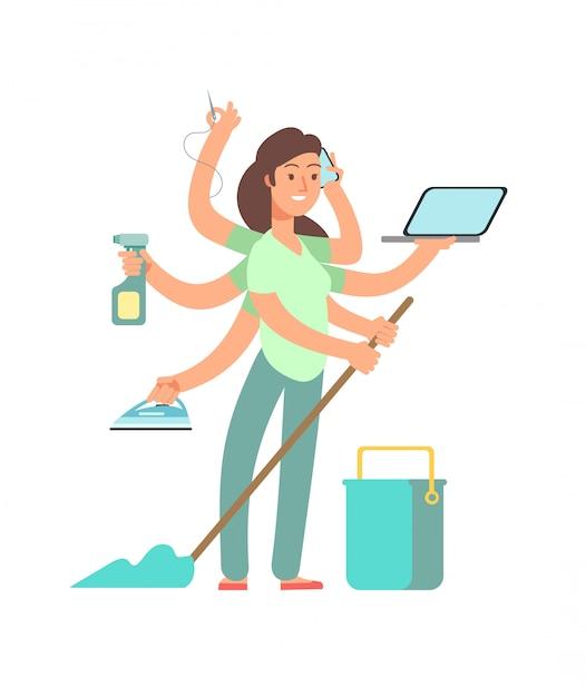 Super-mamma . madre stressata in attività commerciali e di lavoro domestico Vettore Premium