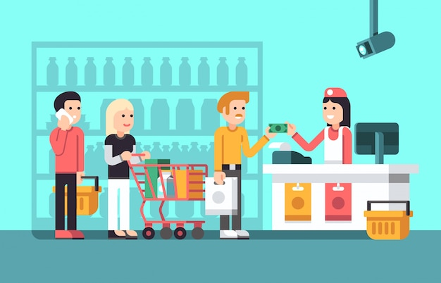 Super mercato, centro commerciale interno con persone, commessa e negozio visualizzare illustrazione vettoriale piatta Vettore Premium