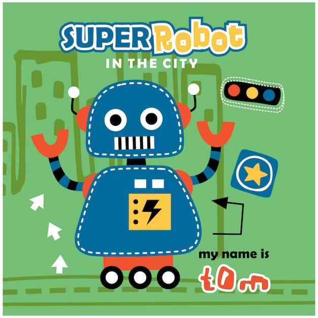 Super robot divertente cartone animato Vettore Premium