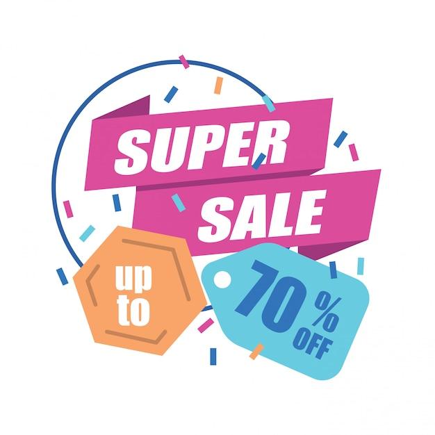 Super sale banner con tag sconto Vettore Premium