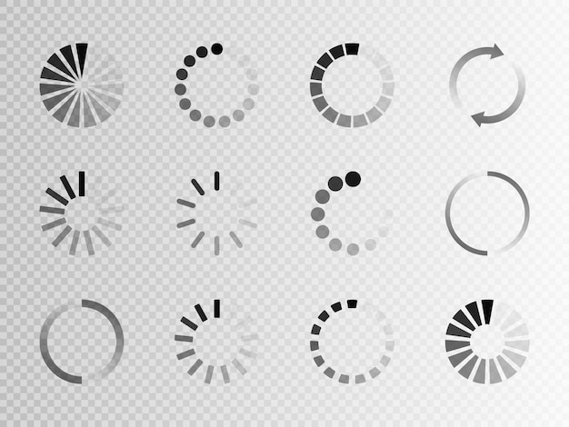 Super set icona di caricamento diverso. caricatore di buffer o preloader del sito web circle. scarica o carica l'icona di stato Vettore Premium