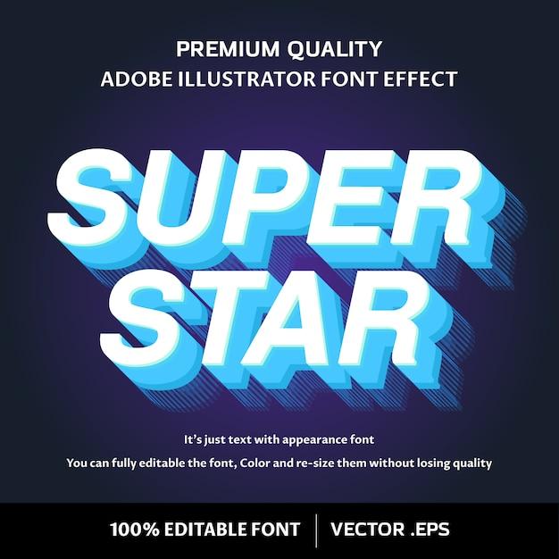 Super star effetto del carattere modificabile facile 3d Vettore Premium