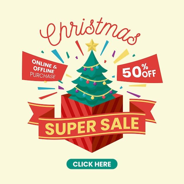 Super vendita design piatto vendita di natale Vettore gratuito