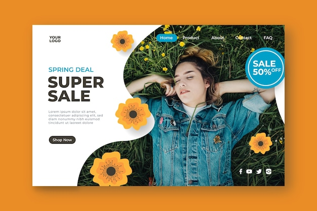 Super vendita e donna in una landing page di campo Vettore gratuito