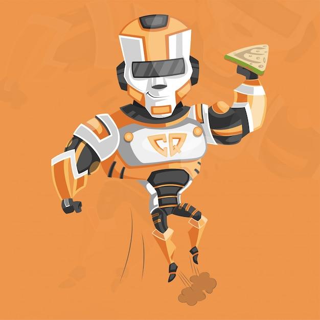 Supereroe del cyborg Vettore Premium