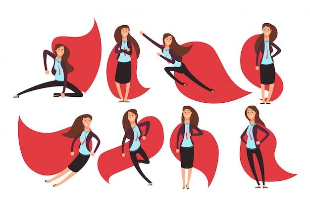 Supereroe della donna di affari del fumetto in mantello rosso. diverse azioni e pose set di caratteri del supereroe vettoriale Vettore Premium
