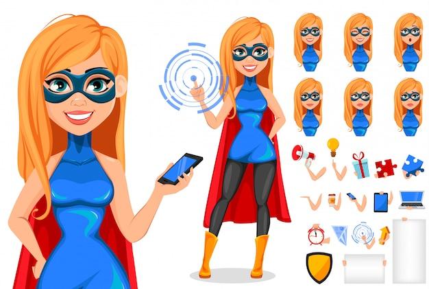 Supereroe donna d'affari Vettore Premium