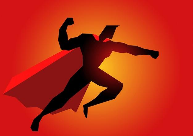 Supereroe in azione posa Vettore Premium