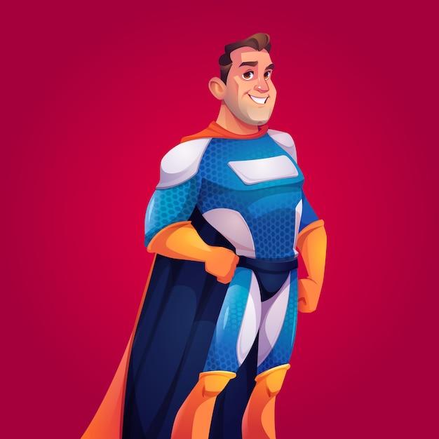 Supereroe in costume blu con mantello Vettore gratuito