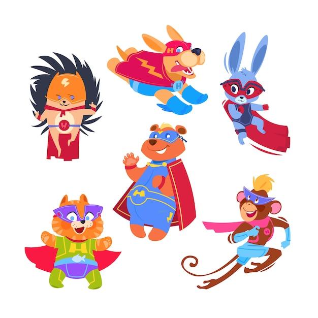 Supereroi animali per bambini. animali divertenti che indossano costumi da supereroi. set di caratteri vettoriali cosplay Vettore Premium