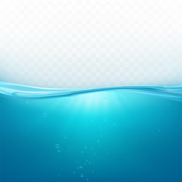 Superficie dell'onda di acqua, linea di oceano liquida o livello subacqueo del mare con le bolle di aria fondo, aqua fresca blu nel moto Vettore gratuito