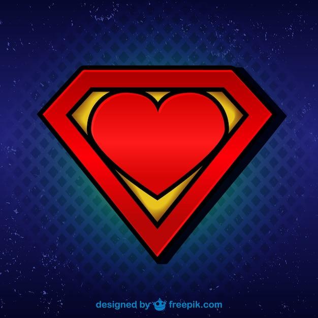 Superman logo con il cuore Vettore gratuito