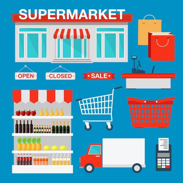 Supermercato edificio interno Vettore Premium
