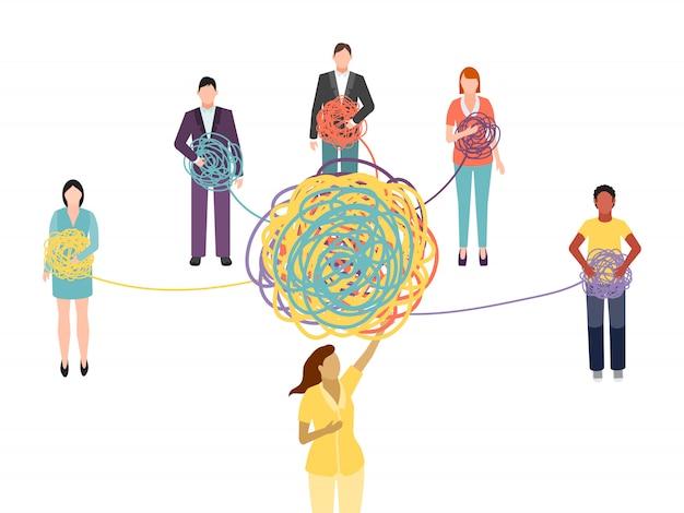Supporto psicoterapico di gruppo. il psicoterapeuta di gruppo, psicologo, aiuta a risolvere il groviglio di problemi Vettore Premium