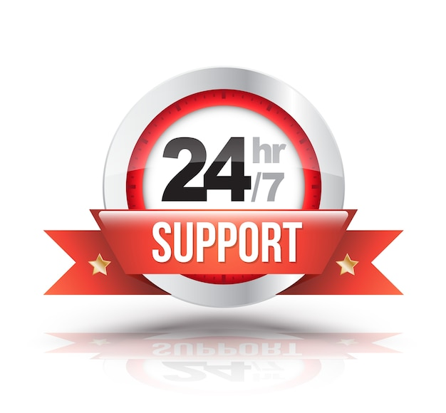 Supporto rosso 24 ore su 24 con badge con scala orologio Vettore Premium