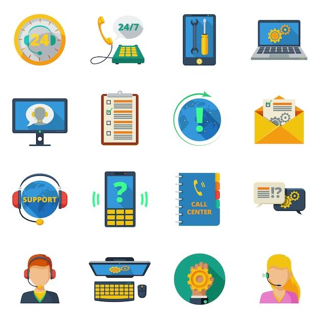 Supporto set di icone piatte Vettore gratuito