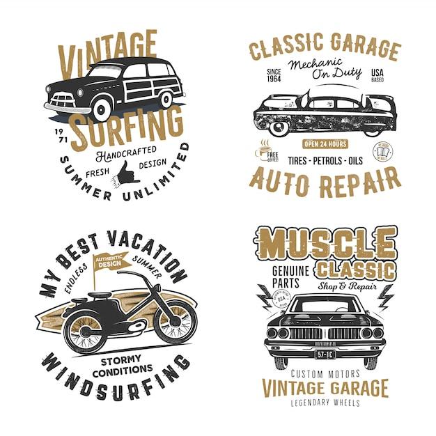 Surf e stampe di garage classico Vettore Premium