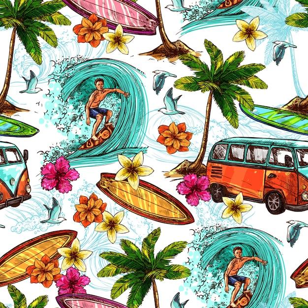 Surf seamless pattern Vettore gratuito