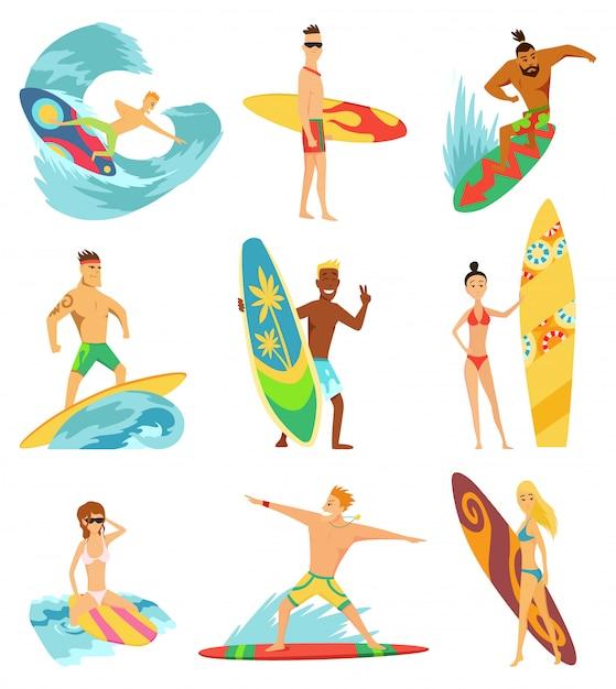 Surfisti che cavalcano le onde Vettore Premium