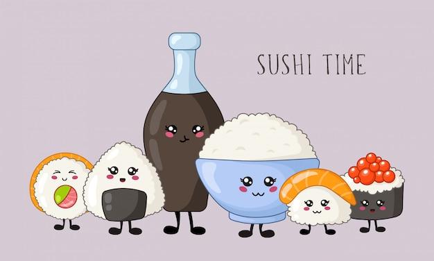 Sushi kawaii, panini, set di sashimi, cucina e cibo giapponese o asiatico, emoji dei cartoni animati, stile manga Vettore Premium