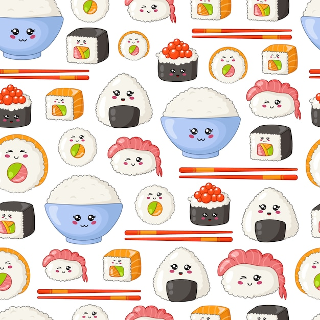 Sushi kawaii, sashimi, involtini - seamless o sfondo, emoji dei cartoni animati, stile manga Vettore Premium