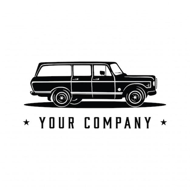 Suv vintage vecchia auto Vettore Premium