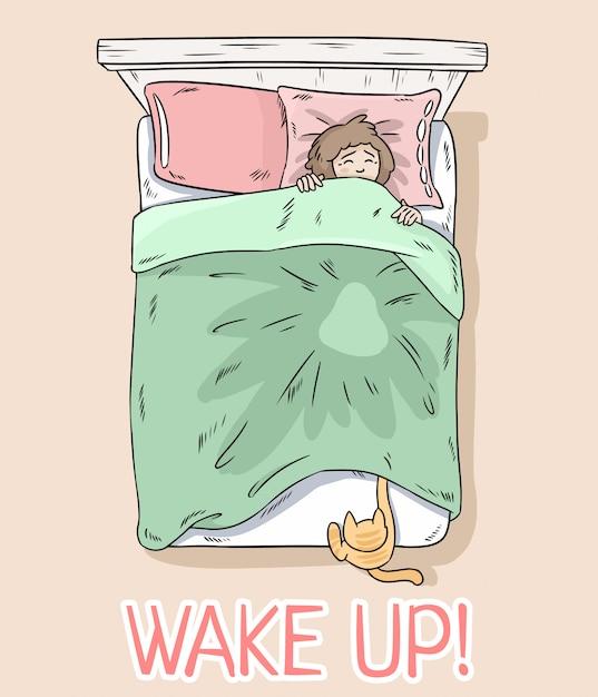 Sveglia cartolina. gatto che cattura le gambe sotto la coperta. la ragazza si sveglia a causa del suo gatto. Vettore Premium