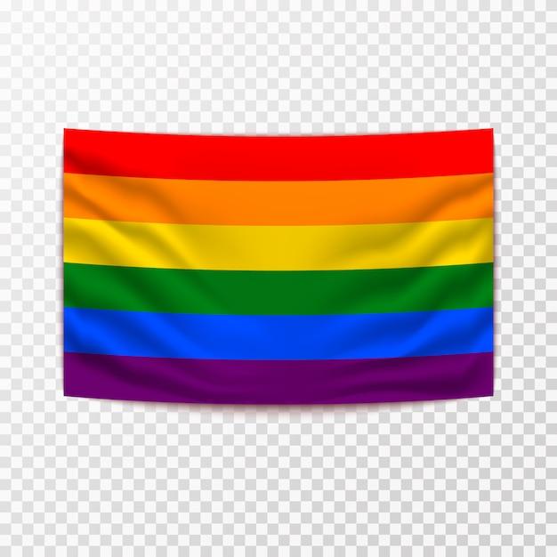 Sventolando la bandiera lgbt Vettore Premium