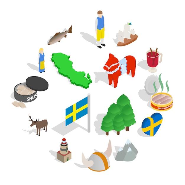 Svezia icon set, stile isometrico Vettore Premium