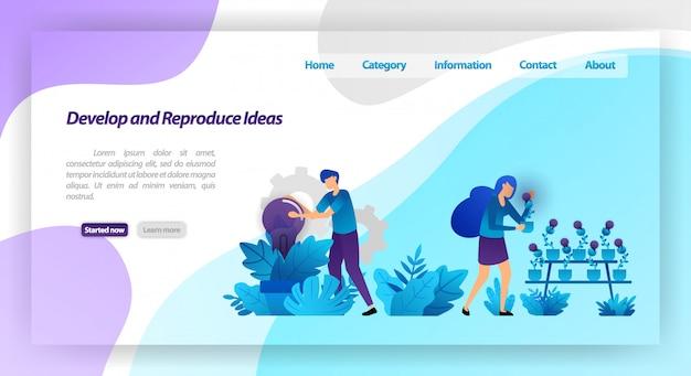 Sviluppa e riproduci idee. parcheggiare con le piante della lampadina. lavoro di squadra che raccoglie e si prende cura dell'idea. modello web della pagina di destinazione Vettore Premium