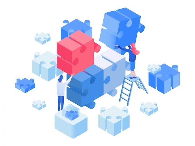 Sviluppatori coworking, team di lavoro isometrici Vettore Premium