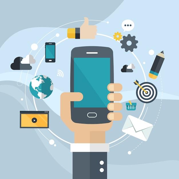Sviluppo di applicazioni o programmazione di app per smartphone Vettore Premium