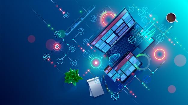 Sviluppo, programmazione di software applicativo mobile Vettore Premium