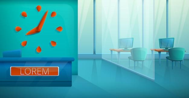Svuoti l'interno moderno dell'ufficio alla moda, illustrazione di vettore Vettore Premium