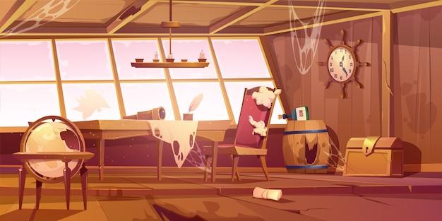 Svuoti la vecchia stanza abbandonata della nave di pirata Vettore gratuito