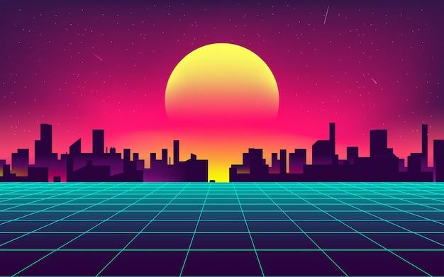Synthwave notte sullo sfondo della città Vettore Premium