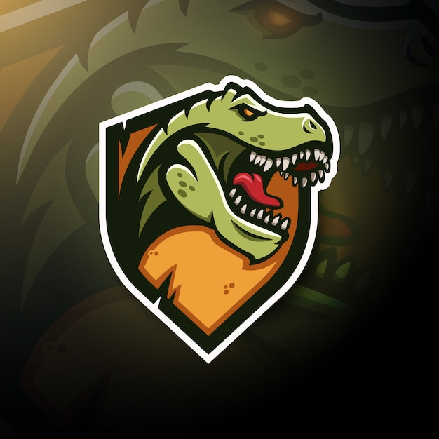 T-rex head gaming logo esport Vettore Premium