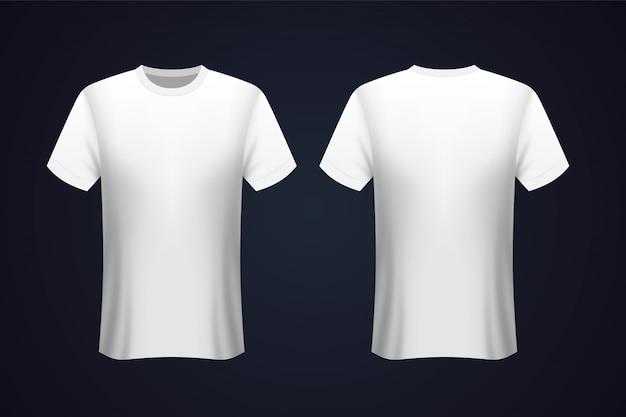 T-shirt bianca anteriore e posteriore Vettore Premium