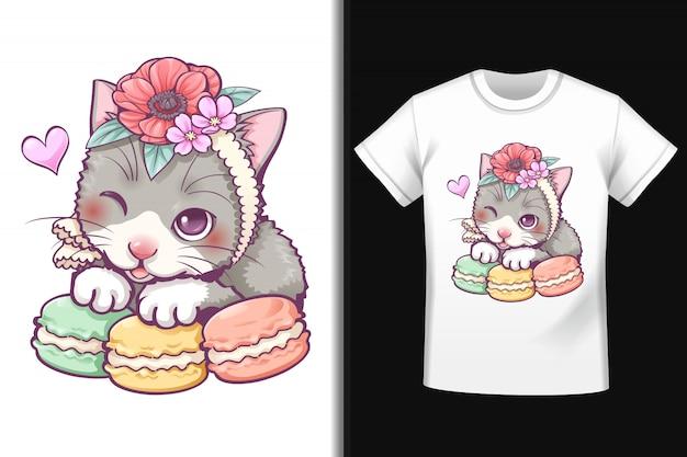 T-shirt con disegno macaron gatto dolce Vettore Premium